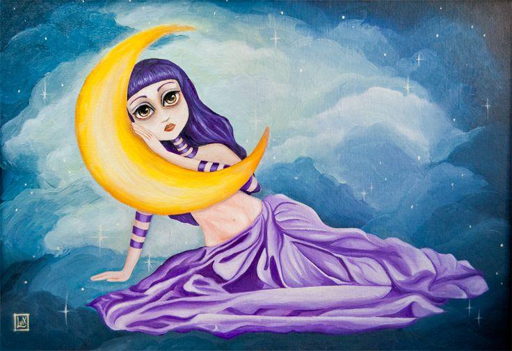 Alice Nuar, oil on canvas  commission by Alessandra Lux #gift #popsurrealism #moon #dream #surrealismart #portrait #love #dancer #bellydancer #purple #gold #hifructose #alessandralux