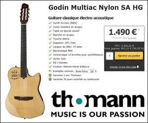 Guitare Godin Multiac Nylon SA HG à 1490 euros avec la livraison incluse | Maxi Bons Plans