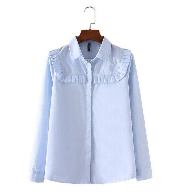 women elegant office wear pleated design shirts long sleeve blue turn down collar blouse autumn fashion casual top blusas