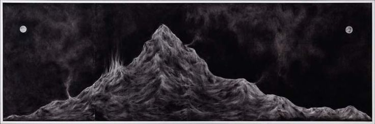 Minam Apang Untitled | Moon Mirrors Mountains Series | 2014 | Charcoal on paper | 25 x 78 in.
