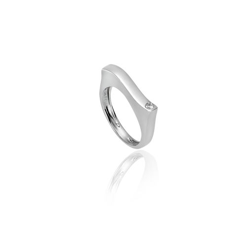 New Diamond Spirit ring in 18KT white gold with a shiny finish and diamond.