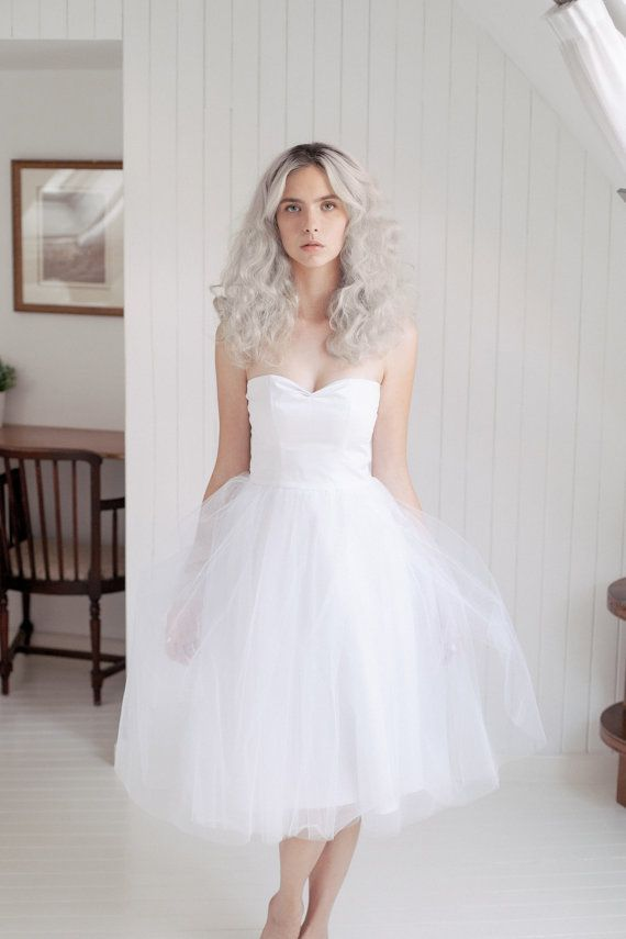 White tulle wedding dress / tea length bridal gown / by JULfashion