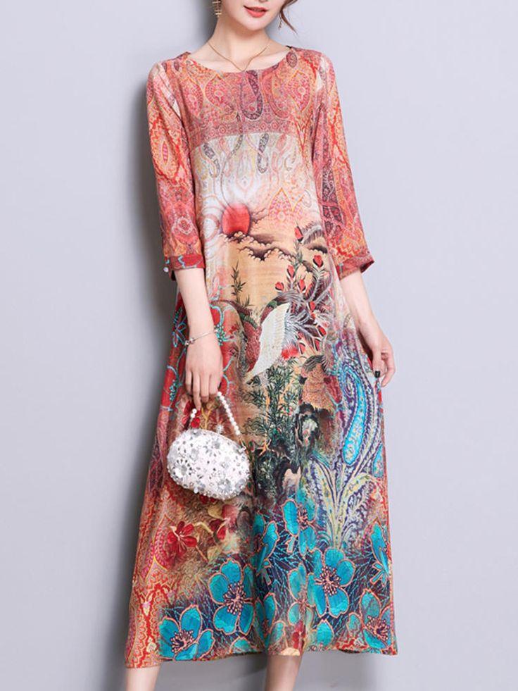 Only US$52.24, shop vintage printed midi dress at Banggood.com. Buy fashion floral dresses online. – Banggood Mobile
