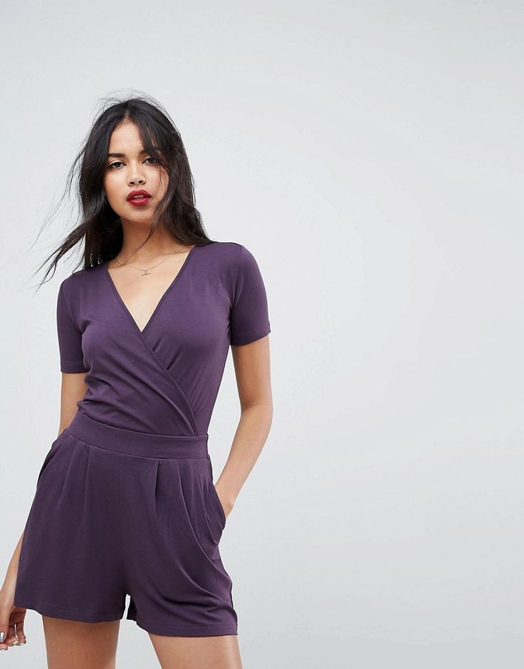 ASOS Wrap Front Jersey Romper with Short Sleeve - Purple