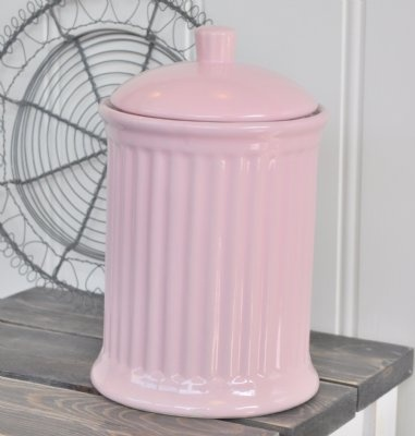 Ljuvlig förvaringsburk i stengods från serien Mynte i färgen English Rose.  Bra förvaring till t.ex flingor, mjöl, havregryn, kakor.