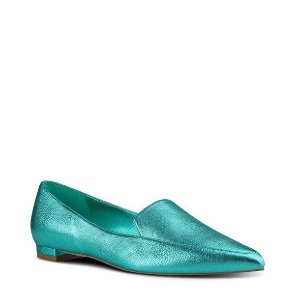 Nine West Abay Smoking Flats ($79) ❤ liked on Polyvore featuring shoes, flats, peacock metallic, ballerina pumps, metallic flats, ballet pumps, flat shoes and ballerina flat shoes