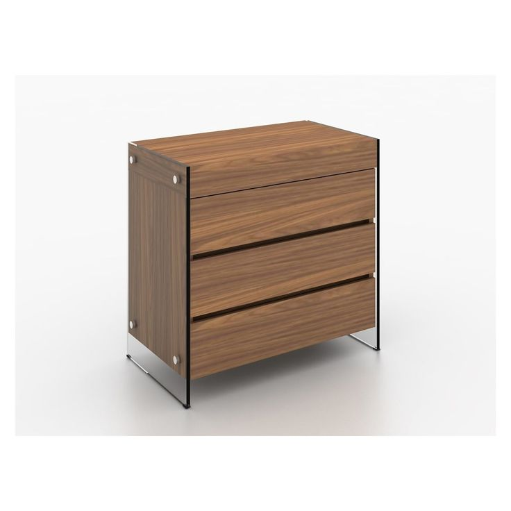 Casablance Home Il Vetro Walnut Veneer with Tempered Glass Tall Dresser/Nightstand