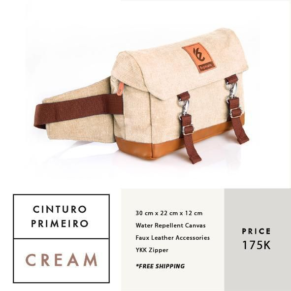 CINTURO PRIMEIRO CREAM  IDR 175.000  FREE SHIPPING ALL OVER INDONESIA    Dimension: 30 cm x 22 cm x 12 cm 8 Litre   Material: High Quality Canvas WR Faux Leather Accessories Leather Accessories YKK Zipper  #GoodChoiceforGoodLooking