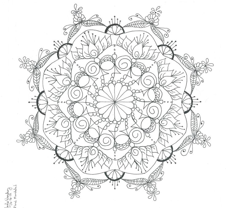 Spiraled And Dotted Mandala To Color