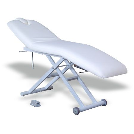 #Salonbed #Massagetable #Tattoo Table #HBA #Salon #Equipment #NewZealand  Fanny Beauty Bed (KB04)  $1,428.00 (GST Excl.)   2 available   •185(202)D×64W×72(82.5)Hcm  •Steel base with powder coated finish;  •Upholstered with high density foam and top quality 1.2mm vinyl;  •Height adjustable with a electric motor;  •Head and leg section manually adjustable;  •Removable armrest with pillow insert.