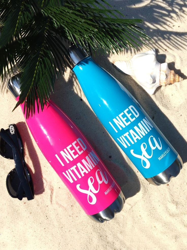 """FREE """"I Need Vitamin SEA"""" Water Bottle! Visit Marleylilly.com for details! Deal ends 5/14! #monogram #marleylilly #freebie"""