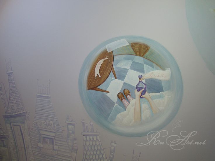 "Children's room at the cafe.Wall painting ""Alice in Wonderland""..I liked the decrease and increase of Alice and her use of magic fans. ...  Очень понравилось уменьшение и увеличение Алисы и использование ею волшебного веера. ..."