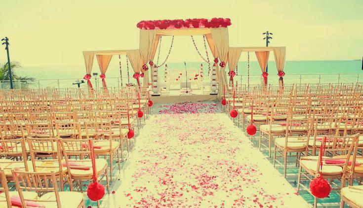 beautiful altar, outdoor wedding, indian wedding, mandap