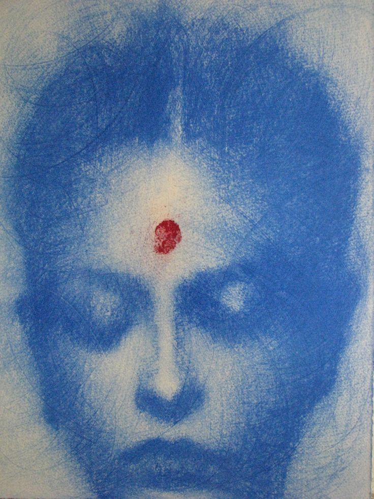 Omar Galliani Blue Oltremare 2 Pastel on paper 37.5 x 28 cm available at 3A The Excellence of Art in Mauritius
