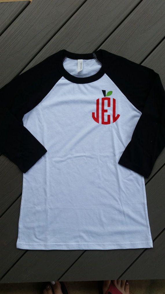 Monogrammed Apple Teacher Shirt - 3/4 Length sleeves - Personalized