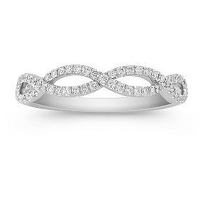 infinity diamond wedding band with pav setting - Wedding Rings Under 500