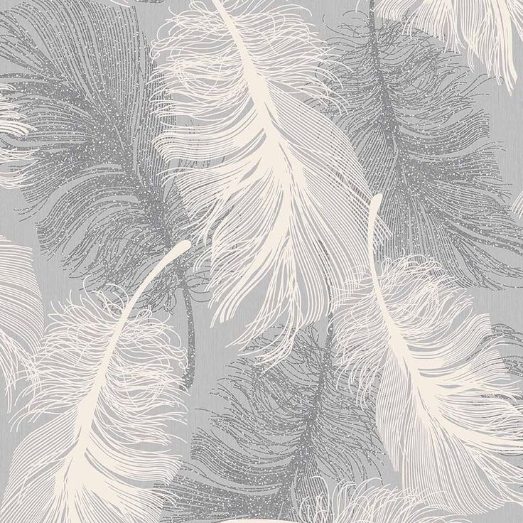 Dappled Grey Feather Wallpaper White and Silver Glitter by Coloroll M0923