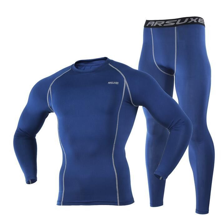 ARSUXEO Men Compression Cycling Base Layer Compression Cycling Base Layers Shirts Running Sets Jersey Sports Suits