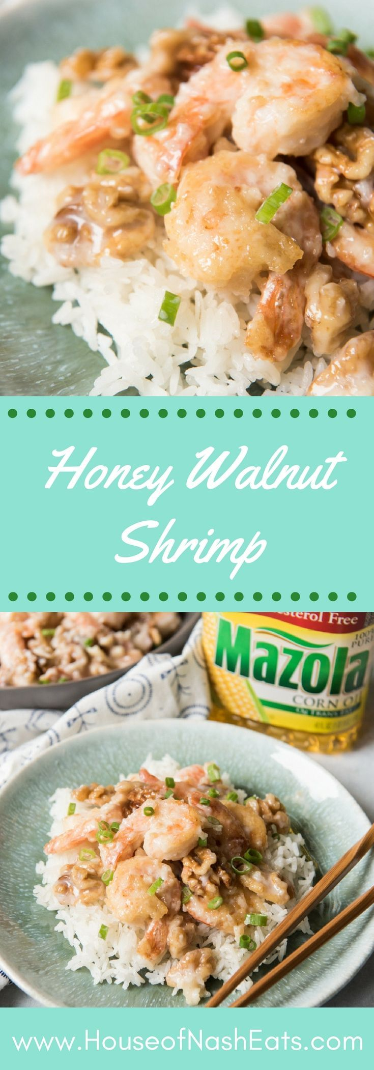 #ad Skip the heavy, greasy takeout and make a better-for-you version of Honey Walnut Shrimp! Crispy shrimp in a sweet, creamy sauce is one of our restaurant favorites made even better at home! #simpleswap #chinese #takeout #shrimp #walnuts #dinner #asian