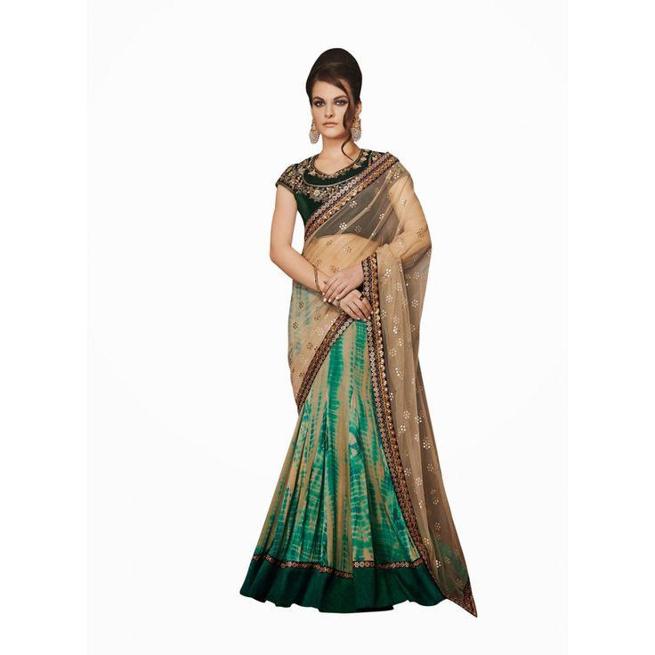Beige and Green Net Designer Lehenga #Saree With Blouse- $114.42