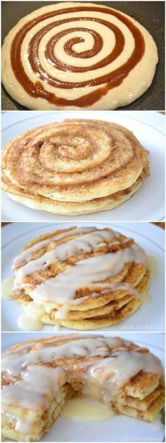 Easy breakfast ideas 25 Different Pancakes to Get You out of Bed in the Mornings. Cinnamon roll pancakes!