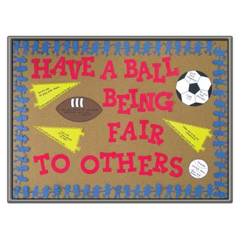 This bulletin board design reinforces the idea that fairness is an admirable quality in all aspects of life--not just in sports. Learn more at www.accucuteducation.com