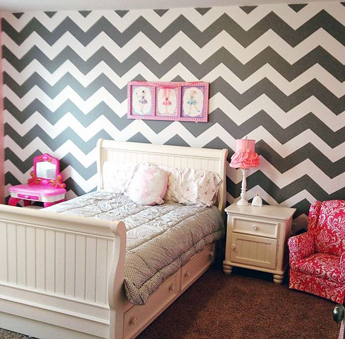 Design Of Bedroom Bedroom With Red Accent Wall Gray Wallpaper Bedroom Interior Decorating Bedroom Colors: A DIY Gray, White, And Pink Stenciled Girl's Bedroom