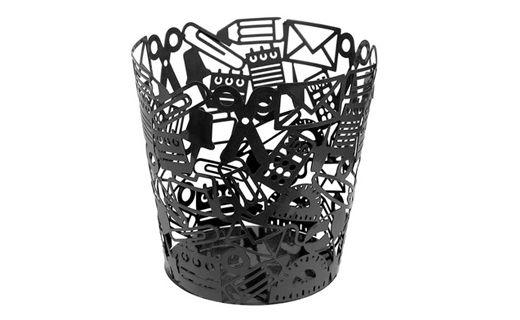 """Papelero """"Objetos"""" negro, metalico tiene una altura de 25 cms, y su diametro superior es de 25cms. también. Puedes encontrarlo en #surdiseño y #mueblessur"""