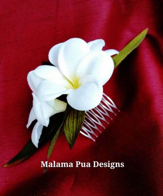 A Tropical or Beach Brides Dream Hair Accessory! A Wedding Accessory to wear forever! 3 Beautiful HAWAIIAN PLUMERIA (Frangipani) are in this