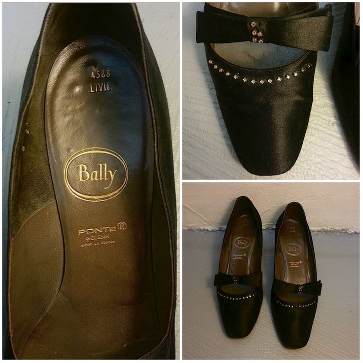 Chaussures BALLY, avec noeud papillon et strass, taille 6, 59.- Collection privée © Solo-Mâtine