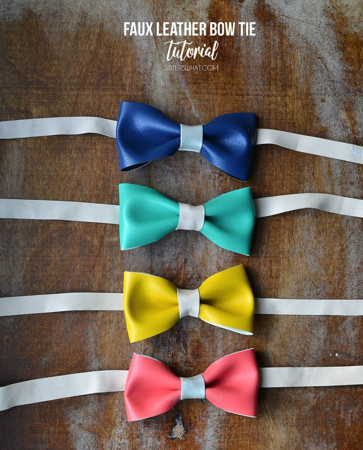 this bow tie tutorial will show you how to make faux leather or vinyl fabric into bow ties for little boys or hair clips for girls.