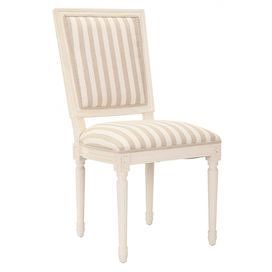 Set of two side chairs with carved details and striped cotton-blend upholstery.    Product: Set of 2 chairsConstruction Material: Birchwood, plywood and fabricColor: Cream and greyDimensions: 38 H x 23.2 W x 18.5 D each