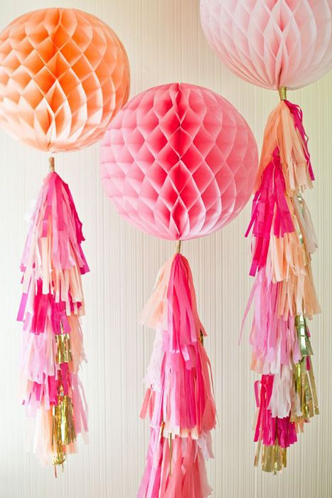 honeycomb balloons with tassels #rackupthejoy
