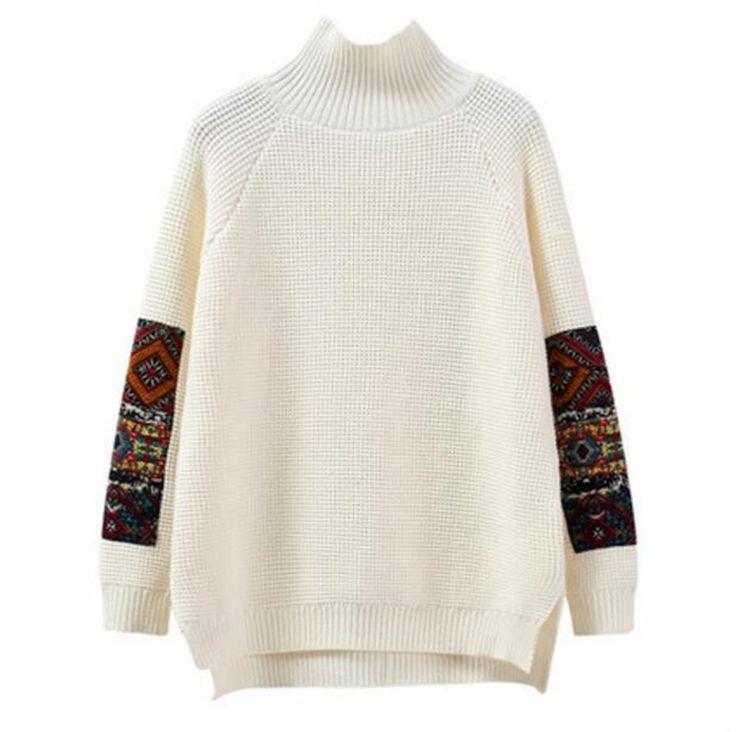 Learn to Original Price US $33.32 Discount 49% Winter Women Vintage Turtleneck Runway Sweater Jumpers Long Sleeve Solid Retro Pullover Sweaters Irregular Split sueter mujer like hemingway #pullovers_sweaters