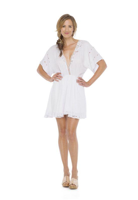 HELEN SLEEVE DRESS in White -- Mini dress with short sleeve V-neckline Kerawang embroidery hand made