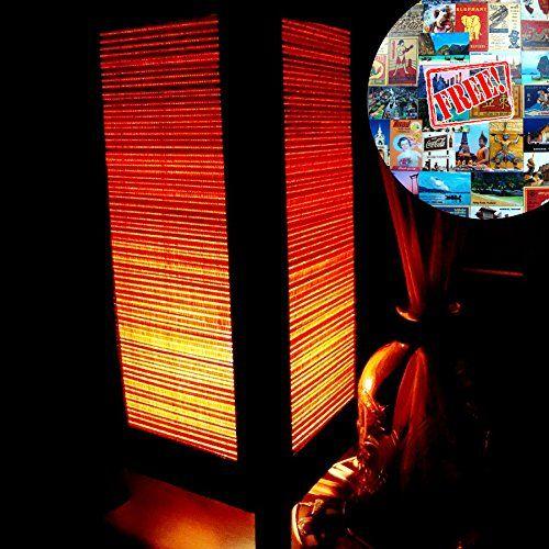Orange Bamboo Table Lamp Night Light Lighting Shade Floor Desk Outdoor Touch Room Bedroom Modern Vintage Handmade Asian Oriental Wood LED Bedside Gift Art Home Garden Christmas; Free Adapter; Us 2 Pin Plug #173