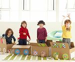 Build-a-Train: You'll need several cardboard boxes large enough for a kid to sit inside. Put out a variety of art supplies -- markers, stickers, construction paper, glue -- and tell each child to turn his or her box into a train car. Once they've decorated the outside of their box with wheels, windows, and whatever else they can think of, help them arrange the cars one behind the other, then hop aboard for an imaginary choo-choo ride.