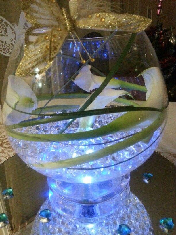 Centre de table lumineux mariage 2014 fleur mariage - Deco de table bleu ...