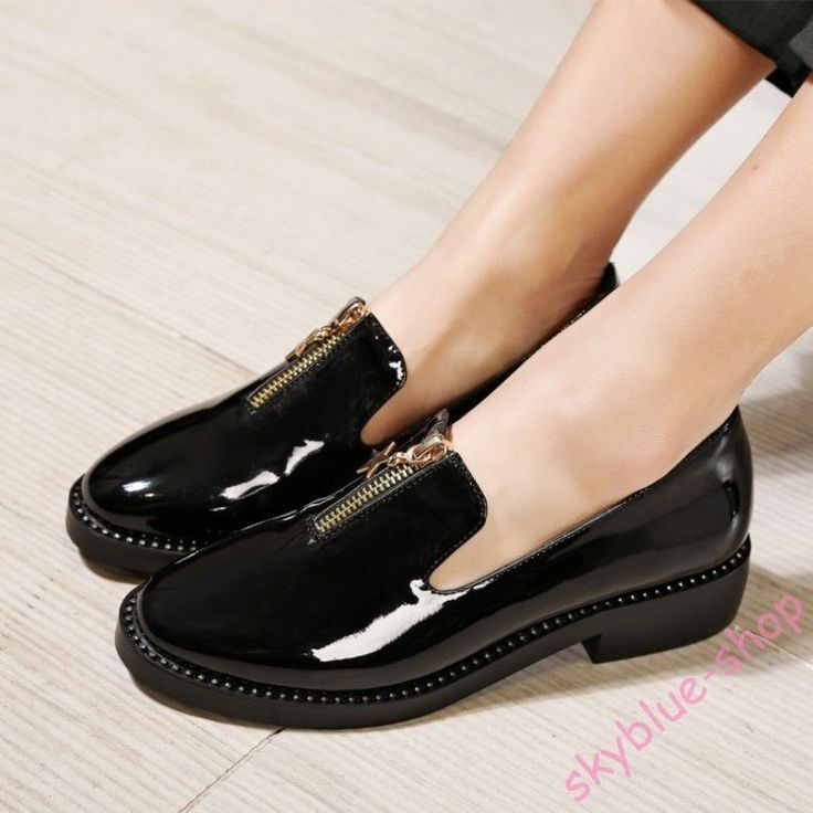 Tendance Chaussures 2017/ 2018 : Hot Womens Loafer Patent Leather Brogue Shoes Zipper Rhinestone Shoes Plus Size