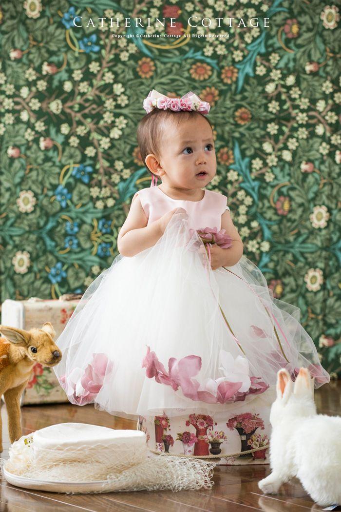 子どもドレス 花びらいりチュールスカートベビードレス 結婚式 子供ドレス 発表会 べビーフォーマル KD195B
