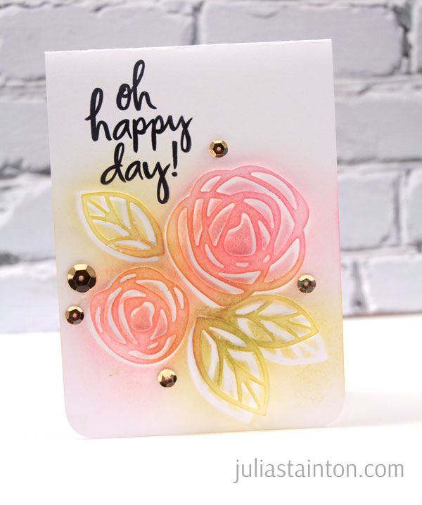 Floral Card using Layered Stencil Die-Cuts Technique by Julia Stainton for the Essentials by Ellen Winter 2015 release and blog hop