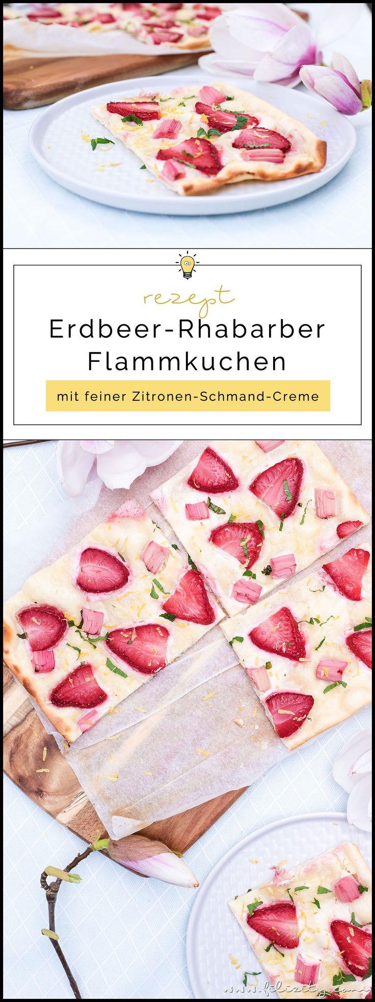 Erdbeer-Rhabarber-Flammkuchen   Süße Variante des klassischen Elsässer Flammkuchens   Leckeres Rezept für Frühling & Sommer   Filizity.com   Food-Blog aus dem Rheinland #flammkuchen