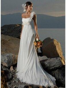 Ajustado Solo Hombro Gasa Sin Mangas Barrer/Cepillo Tren Wedding Dresses