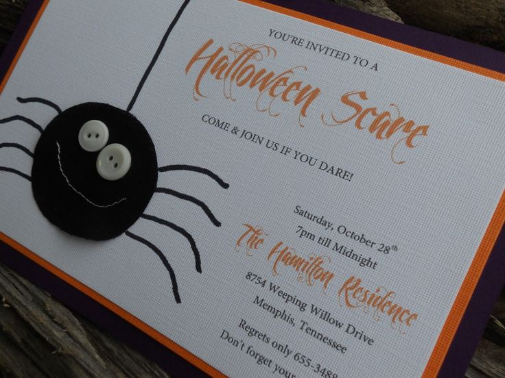 cutie spider halloween invitation use flock on your spider to make him fuzzy get - Homemade Halloween Party Invitations