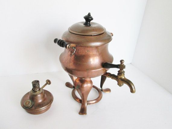 Copper Teapot Warmer Kettle, Burner and Spigot Tap, Footed Stand Carrier, Covered Warming Pot, Hot Water Dispenser Sterno Pot Samover