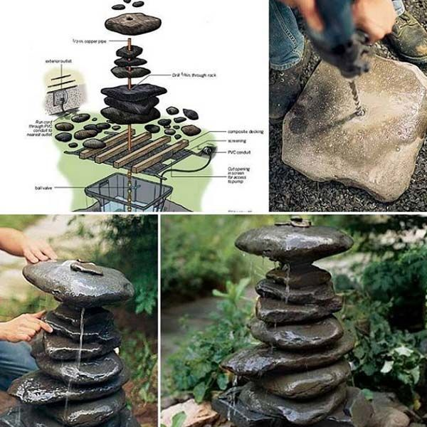 Several good ideas for using rocks in the garden, but I love this plan for a stacked rock fountain.