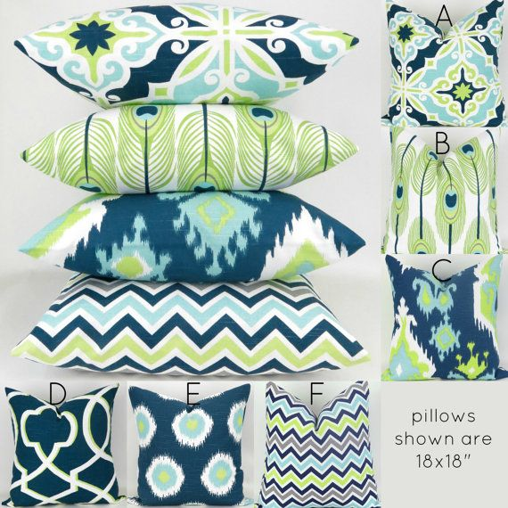 Blue & Green Cushion Cover   24x24  Mix/Match by DeliciousPillows (lime green, navy blue, ikat, peacock feathers, chevron)