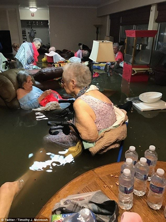 This photo of La Vita Bella nursing home in Dickinson, Texas, went viral when posted Sunday morning. The ladies - 15 of whom lived in the home - were airlifted to safety at 1pm that day, yeah!