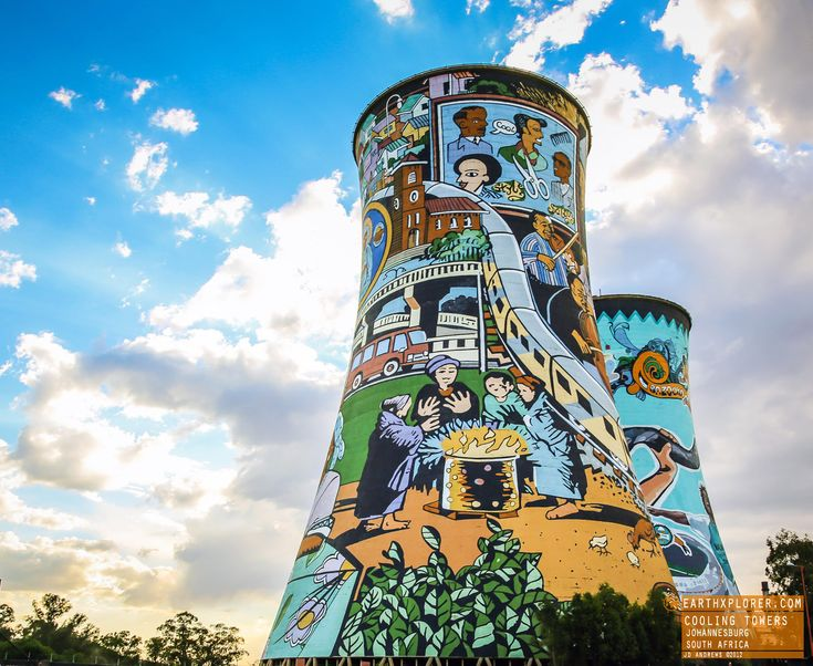 The Orlando Power Station, with its distinctive cooling towers, is an old  coal fired power station in Soweto, South Africa. It was decommis...