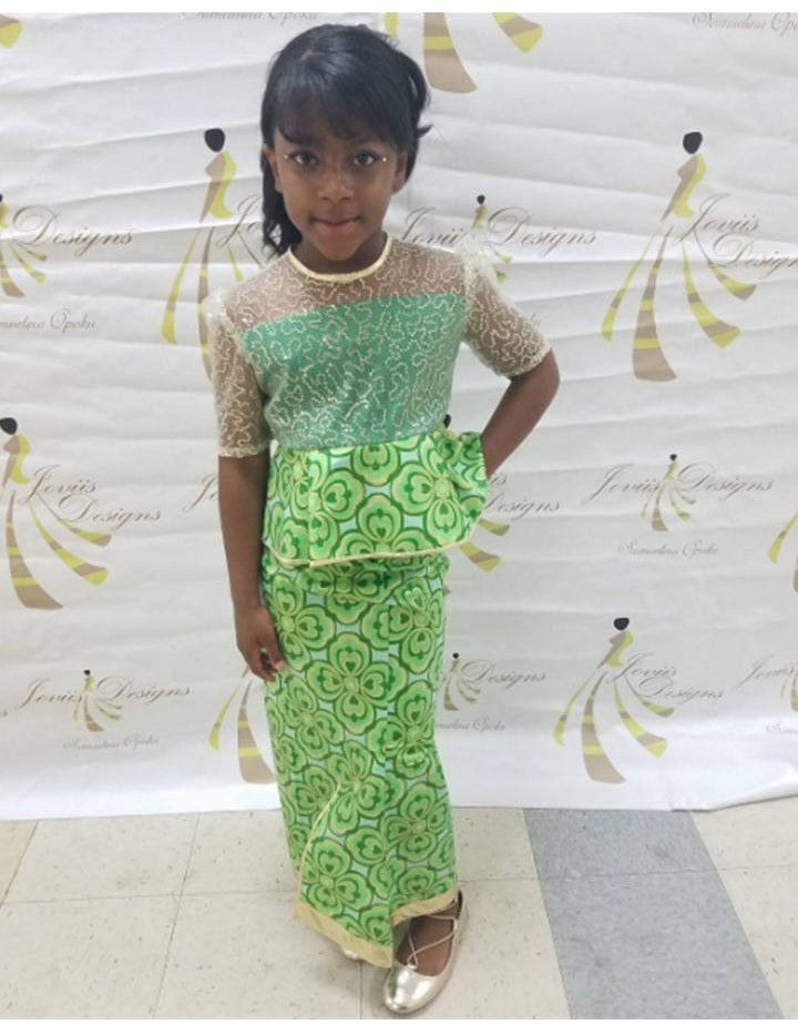 Green/Gold Ankara adorned with Sequin & Lame Fabric Girl African Attire Special Occasions Birthday Sizes 5-18 (U.S SIZE) - FREE SHIPPING by JoviisDesigns on Etsy